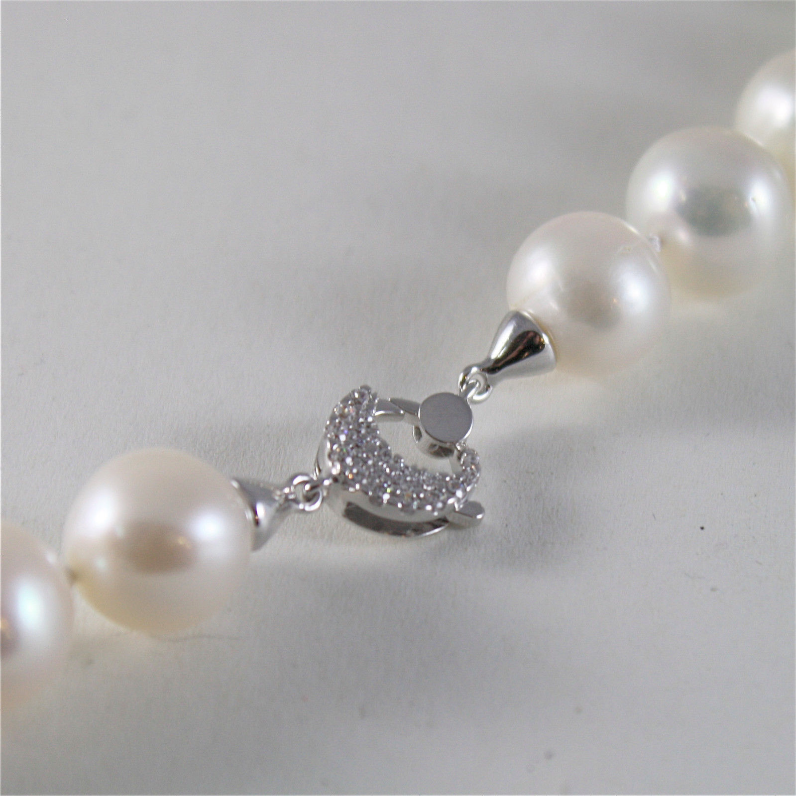 SOLID 18K WHITE GOLD NECKLACE WITH BIG LUSTER ROUND 12 MM PEARLS MADE IN ITALY