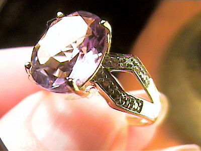 RING 8 AMETHYST SILVER yellow GOLD sapphire NICE sterling 925 small delicate