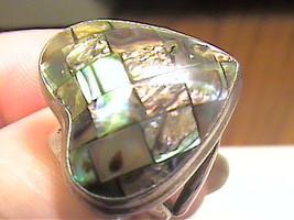 Silver RING 8 BLUE ABALONE HEART long bold elegant sterling 925 big NICE... - £40.41 GBP