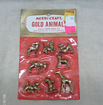 Vintage Merri-Craft Miniature Gold Animals for Crafts // 8 Piece Plastic... - $6.00