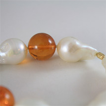18K YELLOW GOLD BRACELET WITH STRAND OF PEARLS AND AMBER 7.87 IN MADE IN ITALY image 4