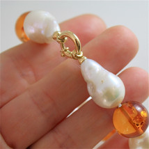 18K YELLOW GOLD BRACELET WITH STRAND OF PEARLS AND AMBER 7.87 IN MADE IN ITALY image 5