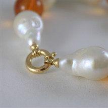 18K YELLOW GOLD BRACELET WITH STRAND OF PEARLS AND AMBER 7.87 IN MADE IN ITALY image 2