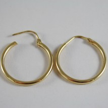 18K YELLOW GOLD EARRINGS CIRCLE HOOP 22 MM 0.87 INCHES DIAMETER MADE IN ITALY image 3
