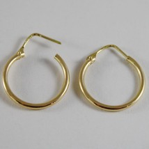 18K YELLOW GOLD EARRINGS LITTLE CIRCLE HOOP 19 MM 0.75 IN DIAMETER MADE IN ITALY image 3