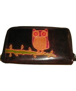 DARK BROWN OWL LEATHER ZIPPERED COIN PURSE CARD WALLET 3 INTERIOR SECTIONS - $7.00