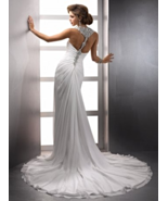 A-Line Halter Chapel Train Chiffon Couture Wedding Dress - $236.00