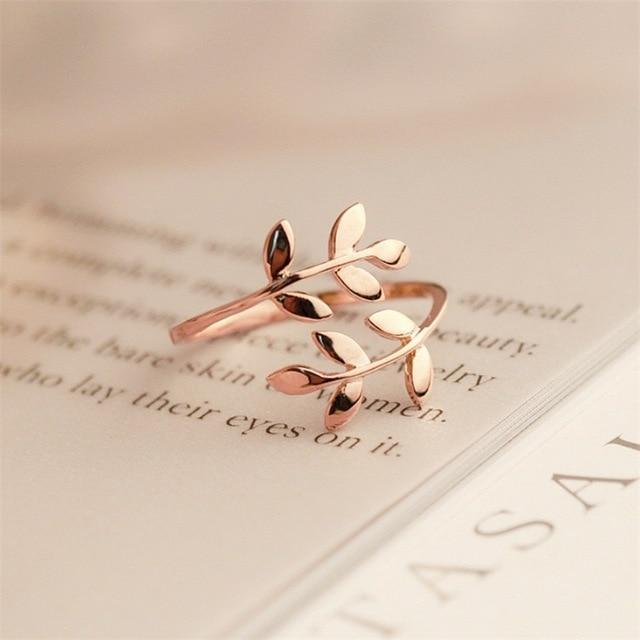 Charms Two colors Olive Tree Branch Leaves Open Ring for Women Girl Wedding Ring