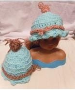 INFANT BABY Preemie to Newborn Seafoam Aqua w/trim Hats Ruffled Puff Top... - $16.25
