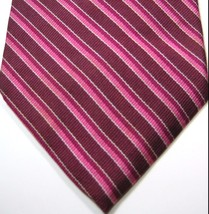 Brooks Brothers Rich Burgundy Pink Red Stripe Tie 100% Silk Rare - $29.99