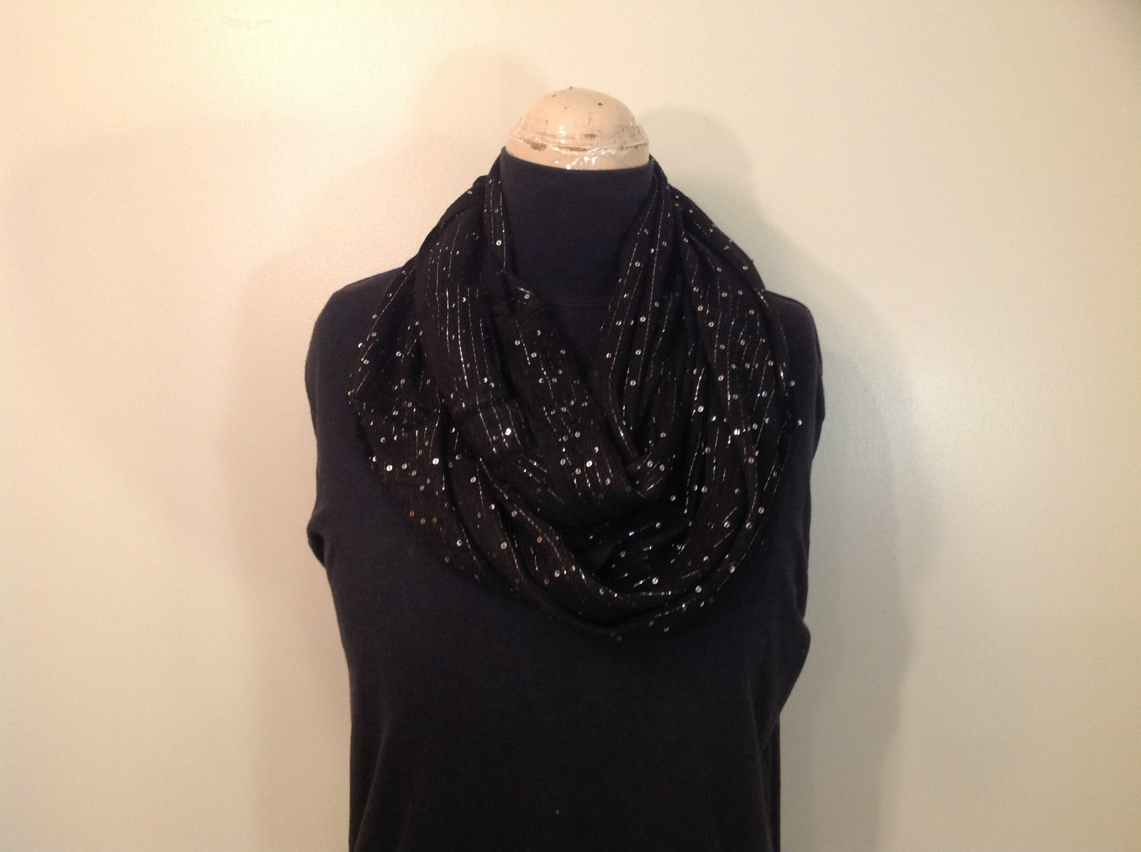 Black Infinity Scarf with Metallic Sequins 100 Percent Viscose