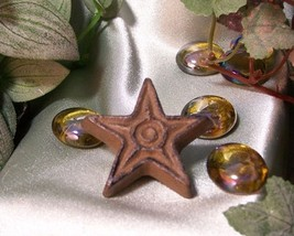 Set of 6 Cast Iron Rust Star Drawer Pulls, Cabinet Knobs - $12.86