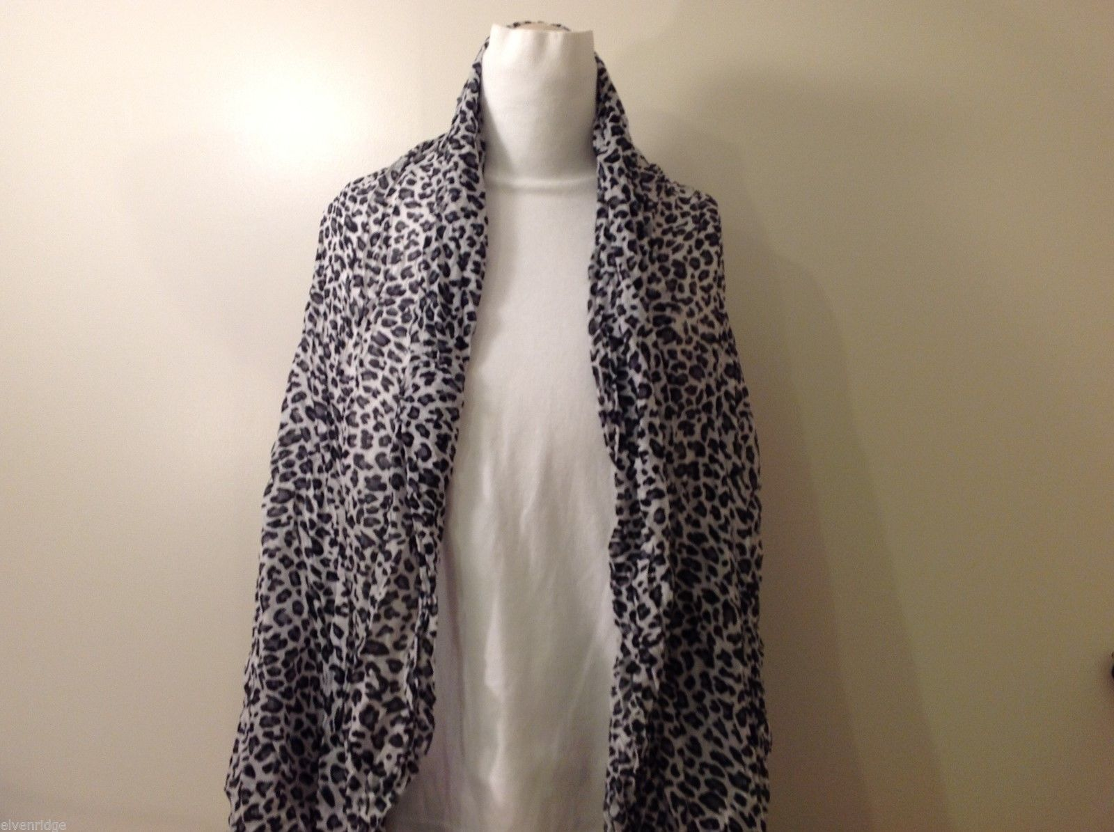 Cheetah Printed Crinkle Scarf, New!