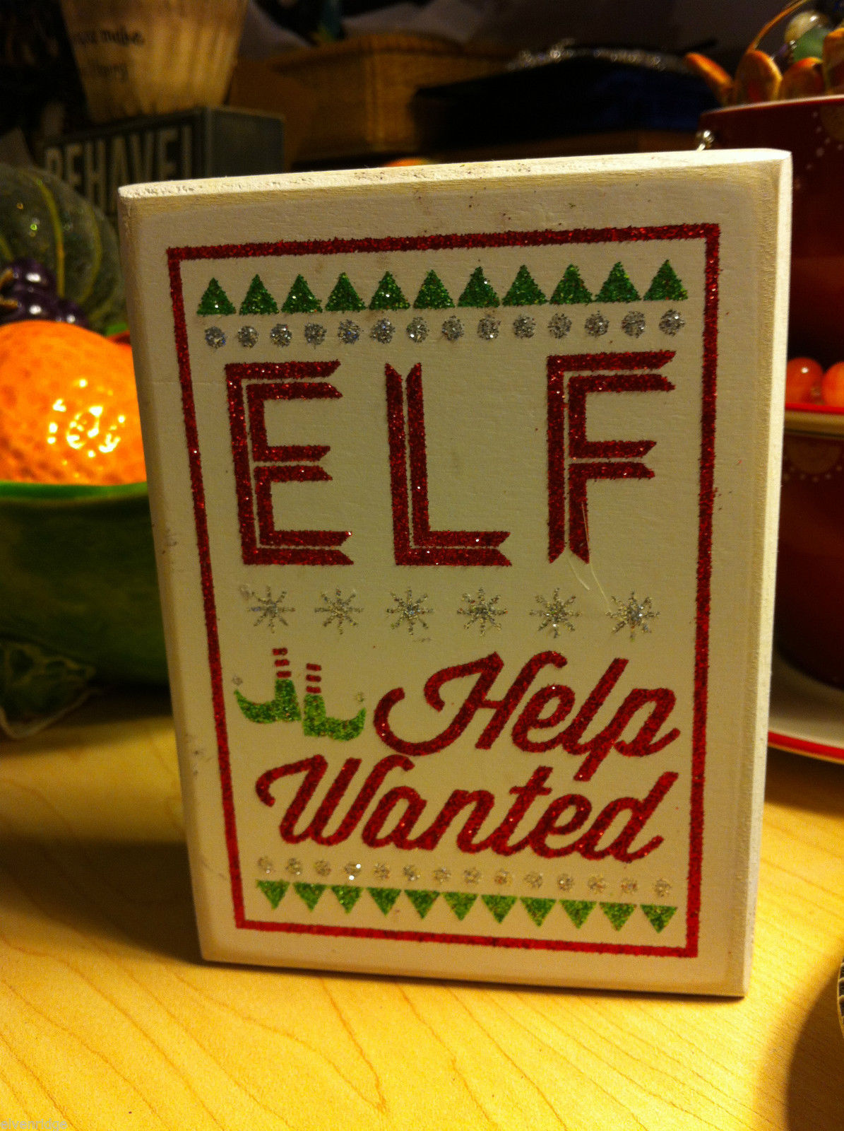 Elf Help Wanted Sparkly Box Sign for Window Display or Mantel Fireplace