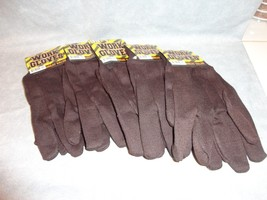 BLACK/BROWN UTILITY WORKING GLOVES, MOVING GLOVES SET OF 5 ONE SIZE FITS... - $2.92