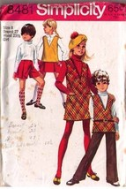 1969 JUMPER or TUNIC, BELL-BOTTOM PANTS & MINI PANTSKIRT Pattern 8481-s ... - $9.99
