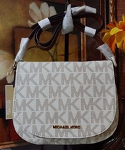 NWT Michael Kors Signature Bedford Medium Flap Messenger PVC Vanilla MSR... - $189.00