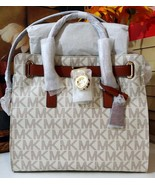 NWT MICHAEL KORS Hamilton Large North South Logo Tote PVC Vanilla MSRP $348 - $284.05