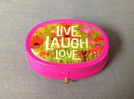 HOT PINK LIVE LAUGH LOVE THEME DESIGN PRINT PILL BOX WITH NON FUNCTIONIN... - $3.91