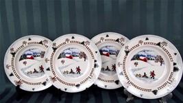 Tienshan Winterside 4 Salad Plates ~ Folkcraft ... - $15.00