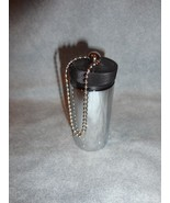 "SILVER CANISTER 2 1/4"" HIGH AND 1"" IN DIAMETER KEYCHAIN PILL OR MONEY HO... - $9.89"