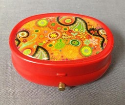 RED ABSTRACT DESIGN FASHION MINT PILL BOX / CASE WITH NON FUNCTIONING LIGHT - $5.89