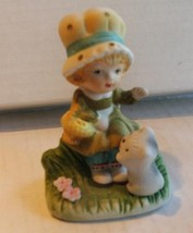 Jasco Girl Bisque Figurine Carries Basket w/Kitten 70s - $4.99