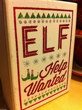 Elf Help Wanted Sparkly Box Sign for Window Display or Mantel Fireplace image 2