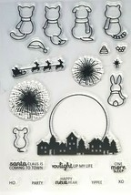 Cute Animals Watching for Santa or Watching Fireworks Stamp Set