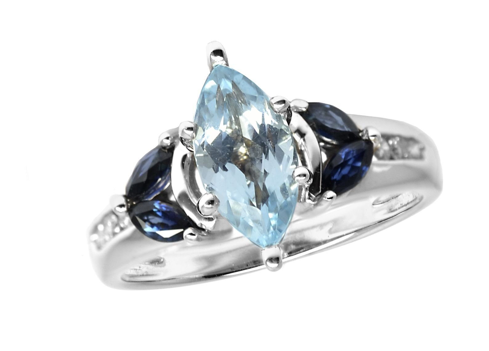 14K White Gold Genuine Blue Topaz Created Sapphire Ring