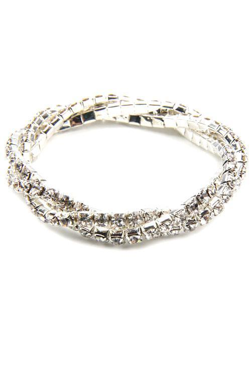 Twisted Stretch Crystal Bracelet, Silver Rhinestone Stretchable Bracelet