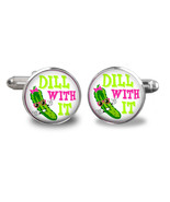 Pickle Cufflinks - Dill with It Cufflinks - funny cufflinks, Ideas for c... - $24.26