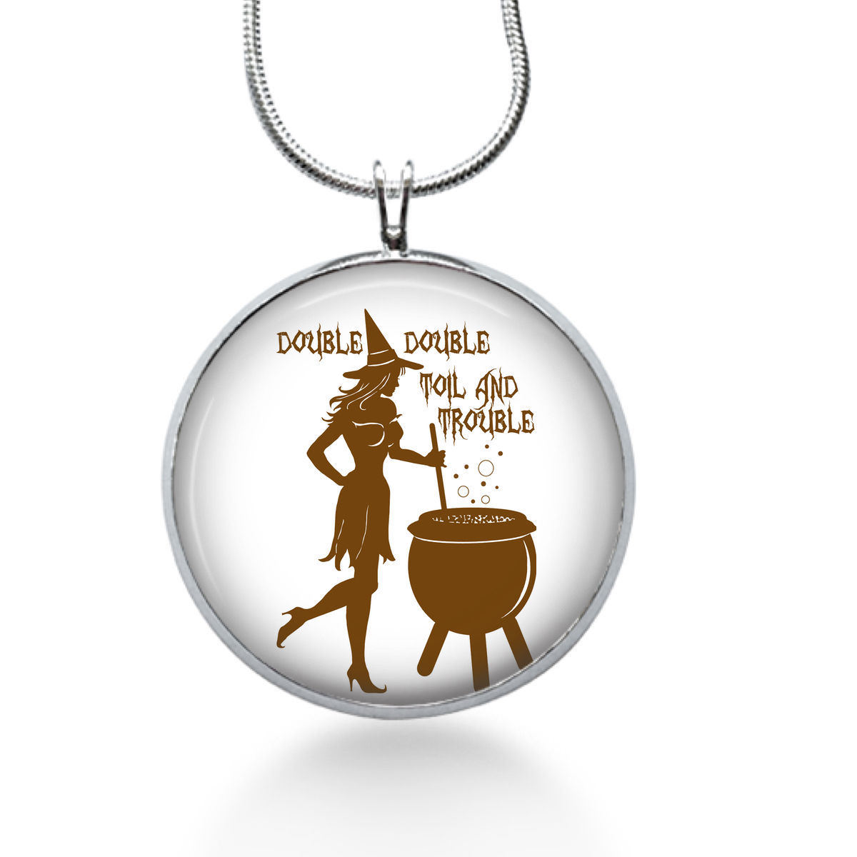 Primary image for Double Double Toil and Trouble Pendant Necklace, Witch Pendant, Halloween
