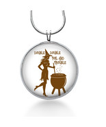 Double Double Toil and Trouble Pendant Necklace, Witch Pendant, Halloween - $18.32