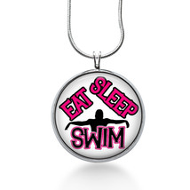 Swim Pendant Necklace, Sports, Swimming Pendant, Eat sleep Swim, Teen gifts - $18.32