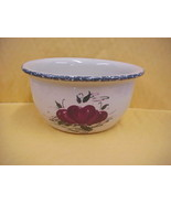 East Texas Hand Made Pottery Soup Bowl with Apples Design - $14.95