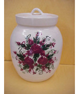 East Texas Hand Made Pottery Cookie Jar Canister w/Burgandy Red Floral D... - $21.49