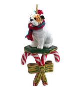 BULLDOG white DOG CANDY CANE CHRISTMAS ORNAMENT HOLIDAY XMAS brown - $14.95