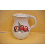 Shakers & Thangs Pottery Pitcher Apple & Daisies Marshall Tx Hand made USA - $17.75