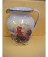 Large Casey Pottery Pitcher w/Rooster & Hen and Biddies Design - $18.69