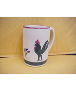 East Texas Hand Made Pottery Mug with Rooster & small flowers - $9.49