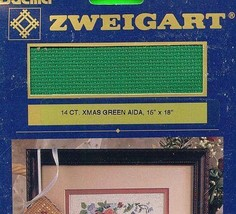 8 packages 14ct Christmas Green Aida Cross Stitch Fabric Zweigart Xmas G... - $27.80