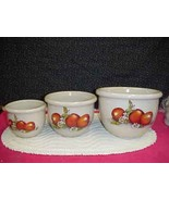 Shakers & Thangs Hand Made Pottery Mixing Bowl Set Apple & Daisies Marsh... - $46.74