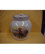 Hand Turned Pottery Crock/Jar Canister w/lid Rooster Hen Biddies Marshal... - $15.88