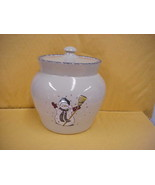 East Texas Hand Made Pottery Snowman Canister - $18.69
