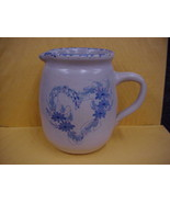 East Texas Pottery Pitcher Blue Heart Floral Sponge Rim Marshall Tx - $14.01