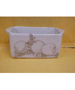 Shakers & Thangs Hand Made Pottery Butter Dish Shaded Apples Design  Mar... - $7.69