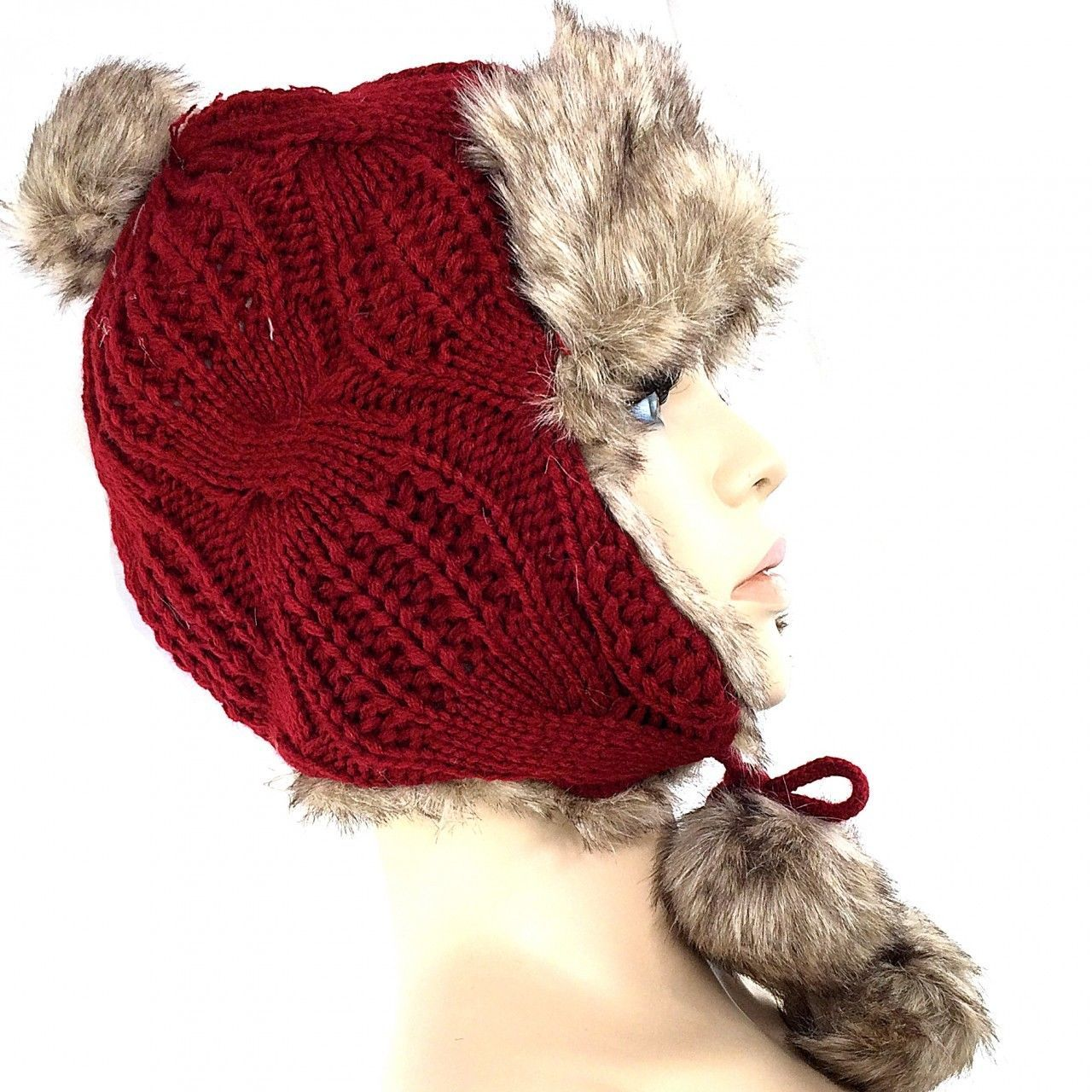 Stylish Winter Knit Women's Trapper Hat w/ Faux Fur & Pom Poms Ski Snow Bunny