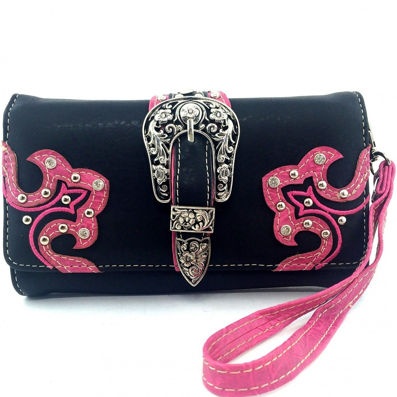 Western Buckle Rhinestone Studded Zip Around Wallet Clutch Purse Wristlet