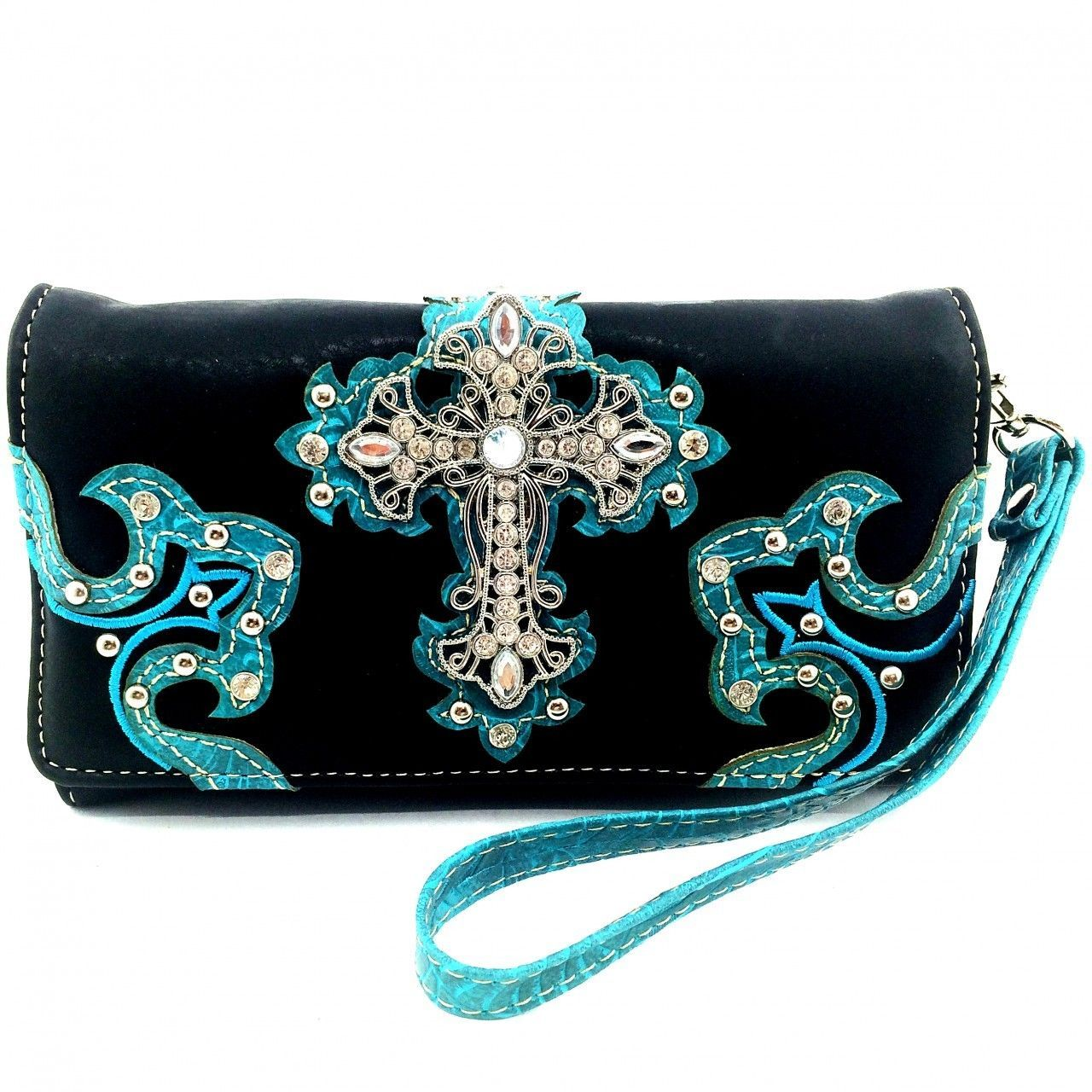 Western Studded Rhinestone Cross Zip Around Wallet Clutch Purse Wristlet Cowgirl